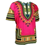 Men's Pink and Green Traditional V-neck Dashiki