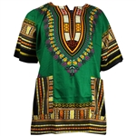 Men's Orange and Green Traditional V-neck Dashiki