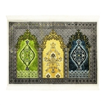 Fancy Thick Three Person Extra Large Family Turkish Prayer Rug Janamaz Sajada