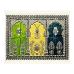 Fancy Thick Three Person Extra Large Family Lantern Prayer Rug Janamaz Sajada