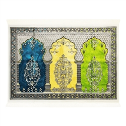 Fancy Thick Three Person Extra Large Family Chandelier Prayer Rug Janamaz Sajada