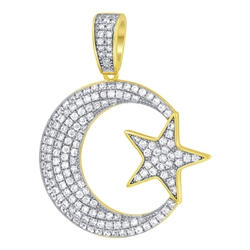 Gold over 925 Sterling Silver CZ Moon and Star Vermeil Pendant