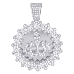 Sterling Silver Cubic Zirconia CZ Islamic Allah Pendant