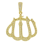 Gold Plated Sterling Silver Cubic Zirconia CZ Islamic Allah Pendant