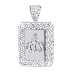 925 Sterling Silver Rhodium Plated CZ Cubic Zirconia Allah pendant