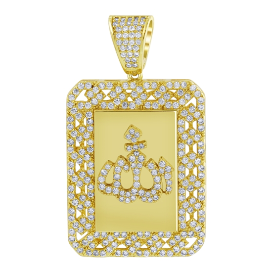 925 Sterling Silver Yellow Gold Rhodium Plated CZ Cubic Zirconia Allah pendant