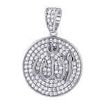 925 Sterling Silver Cubic Zirconia CZ Allah Pendant