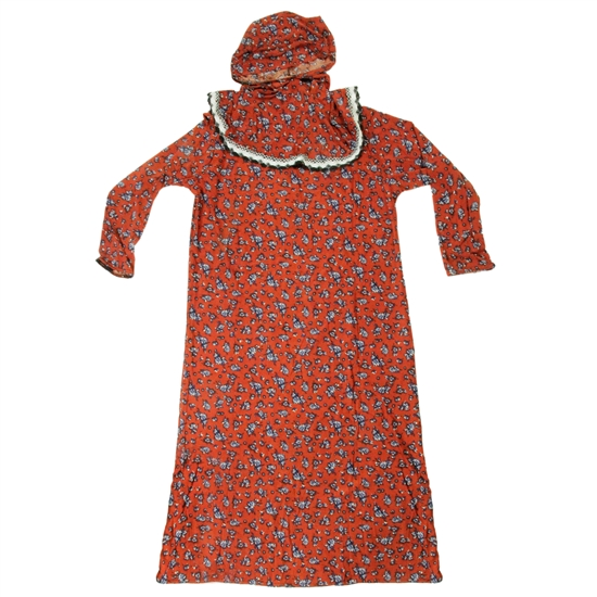Girl's Red Orange Floral One Piece Abaya Prayer Clothes with Hijab Hood