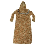 Girl's Orange Floral One Piece Abaya Prayer Clothes with Hijab Hood