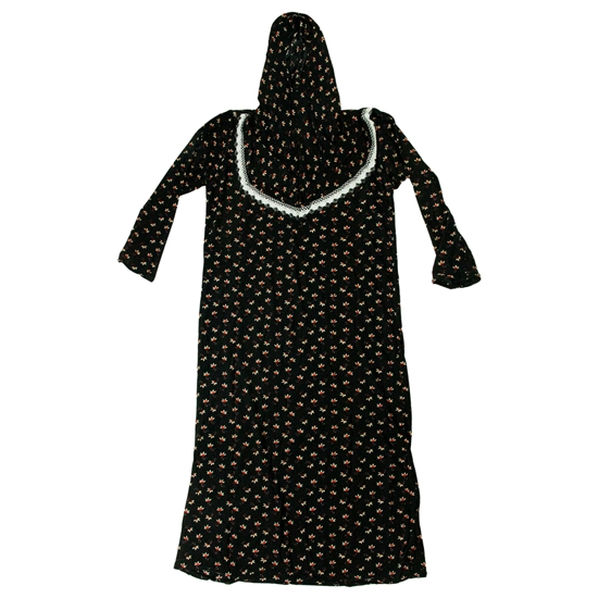 Girl's Black and Yellow Floral One Piece Abaya Prayer Clothes with Hijab Hood