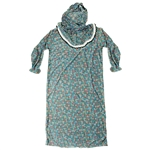 Girls Blue Floral Women's Loose Prayer Clothes Abaya Gown With Hijab