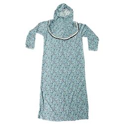 Girls Sky Blue Floral Women's Loose Prayer Clothes Abaya Gown With Hijab