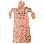 Girls Pink Floral Women's Loose Prayer Clothes Abaya Gown With Hijab