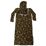 Girls Black with Red Floral Women's Loose Prayer Clothes Abaya Gown With Hijab