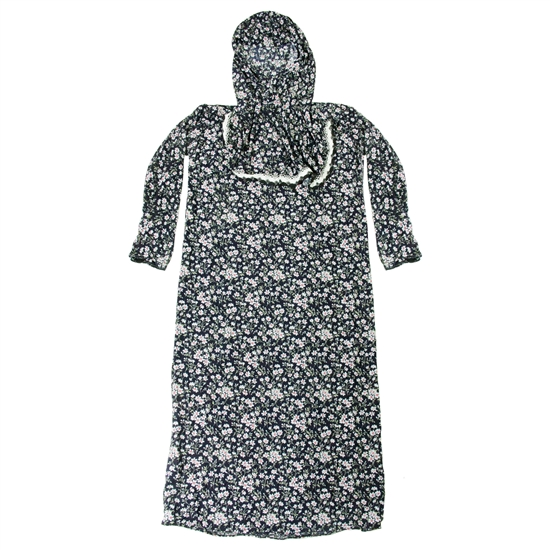 Girls Black with White Floral Women's Loose Prayer Clothes Abaya Gown With Hijab