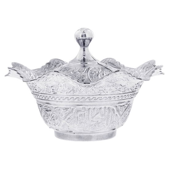 Floral Silver Colored Decorative Bowl
