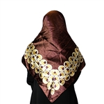 Brown Muslims Women's Headscarf Hijab with Gold Circle Pattern Print
