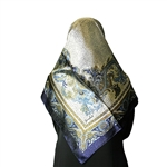 Blue and Gold Mosaic Print Muslims Women's Headscarf Hijab
