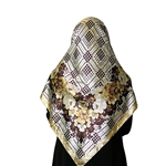 White and Brown Muslims Women's Headscarf Hijab with Gold and White Floral Print