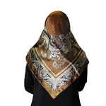 Brown and White Mosaic Print Muslims Women's Headscarf Hijab