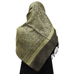 Olive Green Jacquard Print Muslims Women's Headscarf Hijab with Black Tassels