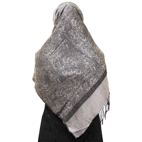Warm Gray Jacquard Print Muslims Women's Headscarf Hijab with Black Tassels