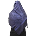 Navy Blue Jacquard Print Muslims Women's Headscarf Hijab with Black Tassels