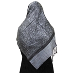 Cool Gray Jacquard Print Muslims Women's Headscarf Hijab with Black Tassels
