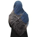 Blue Cheetah Print and Gray Snake Skin Pattern Muslims Women's Headscarf Hijab