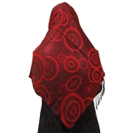 Burgundy and Cherry Gauge Gauche Target Print Muslims Women's Headscarf Hijab