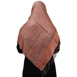 Coral Pink Muslims Women's Headscarf Hijab with Gray Jacquard Print and Gray Tassels