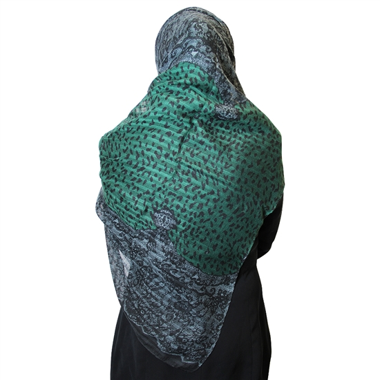 Forest Green Cheetah Print and Gray Jacquard Multipattern Muslims Women's Headscarf Hijab