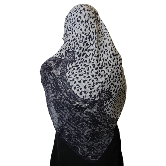 Snow Leopard Print and Gray Jacquard Multipattern Muslims Women's Headscarf Hijab