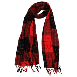 Red and Black Plaid Checkered Design Rectangle Women's Hijab Scarf with Tassle