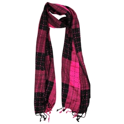 Magenta and Black Plaid Checkered Design Rectangle Women's Hijab Scarf with Tassles
