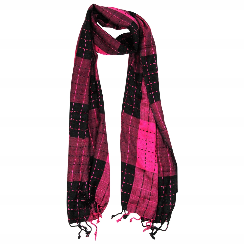 d5bbe1ebcc Magenta and Black Plaid Checkered Design Rectangle Women s Hijab ...