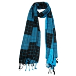 Turquoise and Black Plaid Checkered Design Rectangle Women's Hijab Scarf with Tassles
