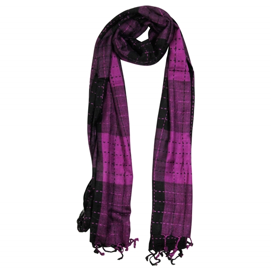 Purple and Black Plaid Checkered Design Rectangle Women's Hijab Scarf with Tassles