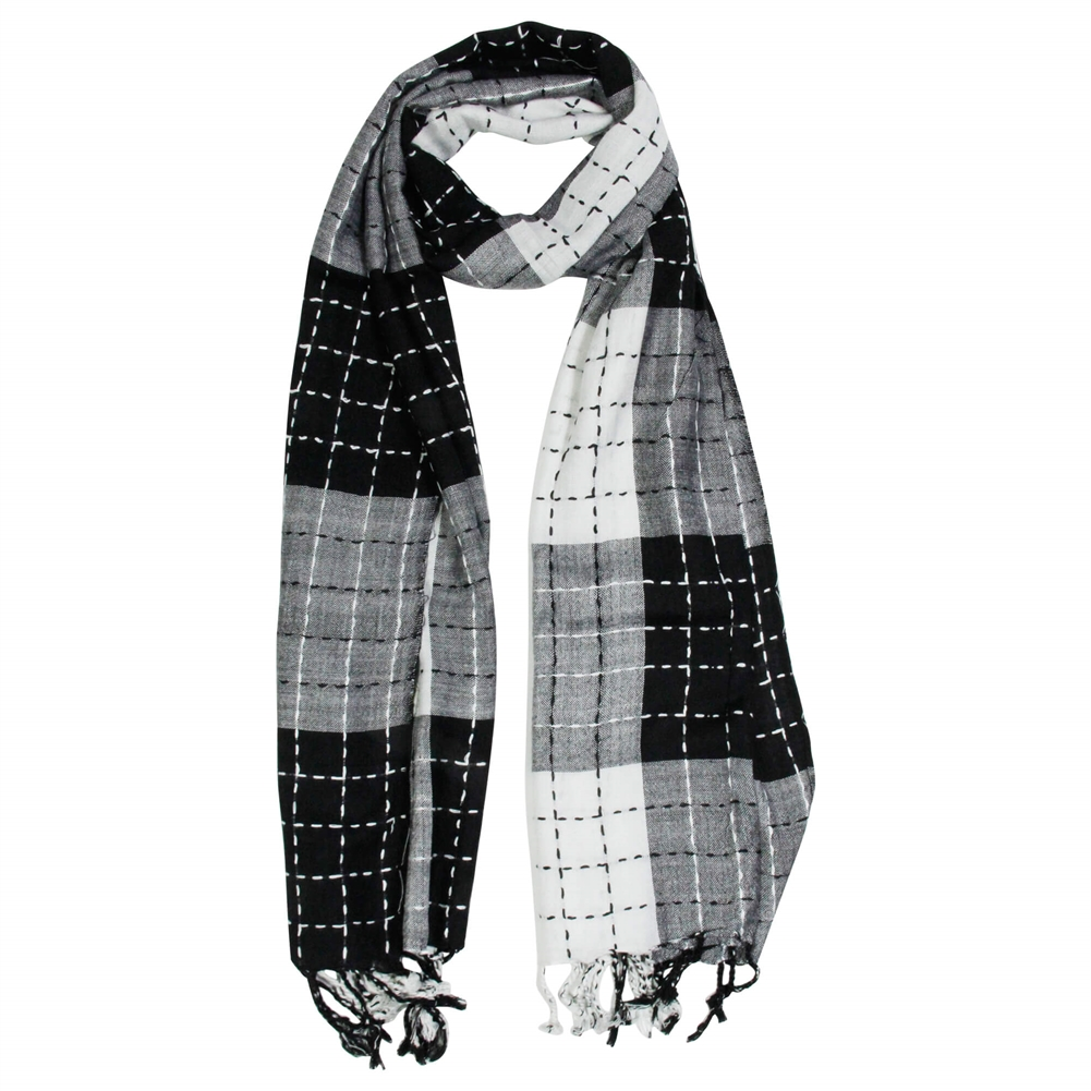 White And Black Plaid Checkered Design Rectangle Womens Hijab Scarf