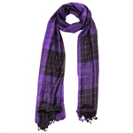 Violet and Black Plaid Checkered Design Rectangle Women's Hijab Scarf with Tassles