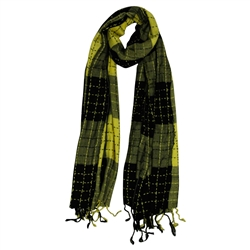 Yellow and Black Plaid Checkered Design Rectangle Women's Hijab Scarf with Tassles