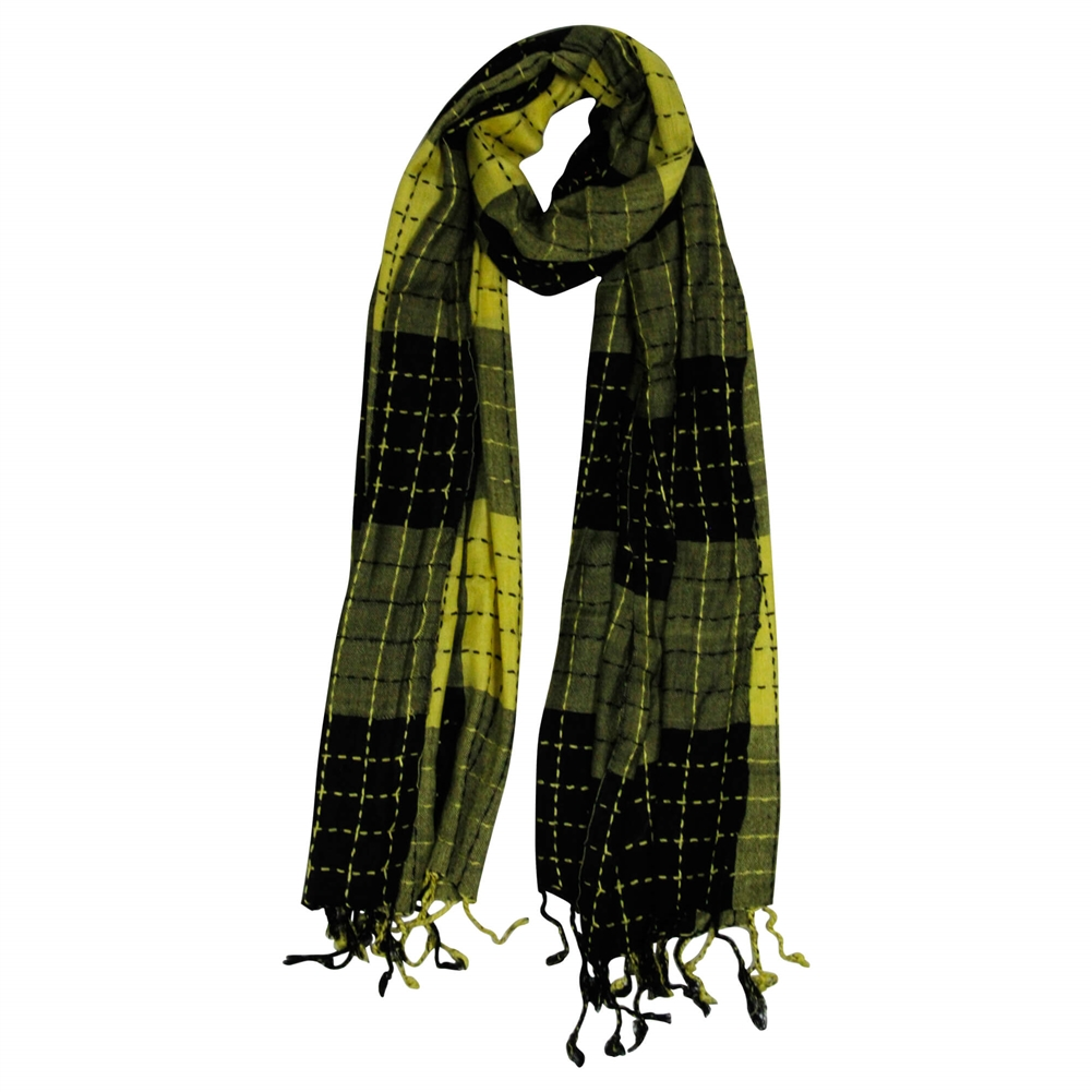 4c5a23d5f6 Yellow and Black Plaid Checkered Design Rectangle Women s Hijab ...