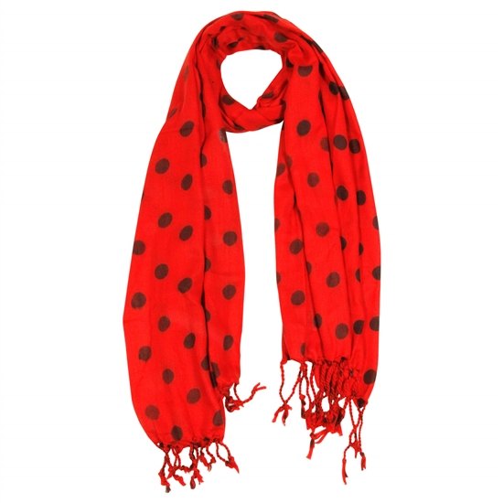 Red and Black Polkadot Design Rectangle Women's Hijab Scarf with Tassles