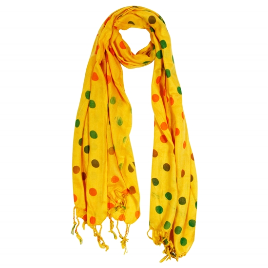 Yellow Orange and Green Polkadot Design Rectangle Women's Hijab Scarf with Tassles