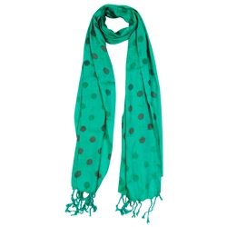 Emerald and Brown Polkadot Design Rectangle Women's Hijab Scarf with Tassles
