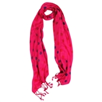 Hot Pink and Purple Polkadot Design Rectangle Women's Hijab Scarf with Tassles