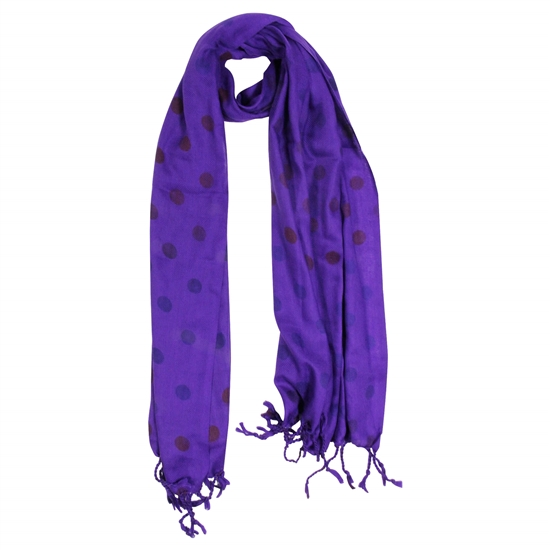 Purple Polkadot Design Rectangle Women's Hijab Scarf with Tassles