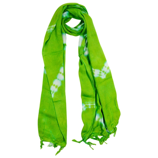 Lime Green and Blue Tie-dye Rectangle Women's Hijab Scarf with Tassles