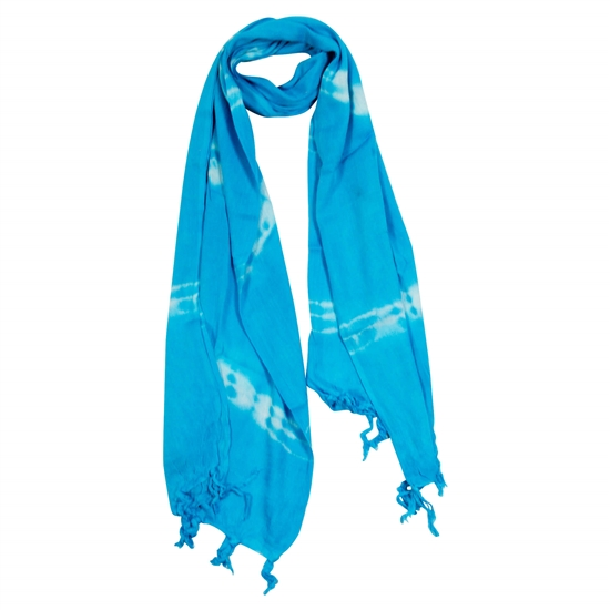 Light Blue and White Tie-dye Rectangle Women's Hijab Scarf with Tassles
