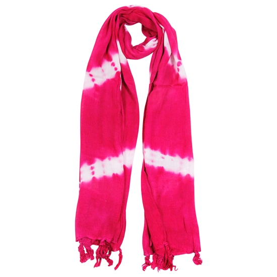 Magenta and White Tie-dye Rectangle Women's Hijab Scarf with Tassles